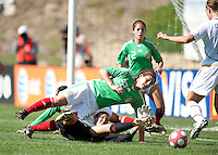Mexico's goalkeeper Pamela Tajonar, right, and Alina Garciamendez stop a shot by the USA. USA 3-0 over Mexico in San Diego, California, Sunday, March 28, 2010.