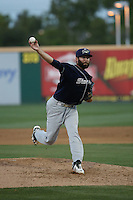 Kyle Friedrichs (18) of the Stockton Ports pitches against the Rancho Cucamonga Quakes at LoanMart Field on July 3, 2016 in Rancho Cucamonga, California. Rancho Cucamonga defeated Stockton, 2-1. (Larry Goren/Four Seam Images)