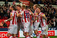 1st October 2021;  Bet365 Stadium, Stoke, Staffordshire, England; EFL Championship football, Stoke City versus West Bromwich Albion; Stoke celebrate a goal by Nick Powell that put them ahead 1-0
