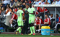 Yaya Toure of Manchester City replaces Sergio Aguero late on during the Barclays Premier League match between Swansea City and Manchester City played at The Liberty Stadium, Swansea on 15th May 2016
