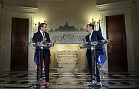Pictured: (L-R) French President Emmanuel Macron and Greek Prime Minister Alexis Tsipras at Maximos Mansion in Athens, Greece. Thurday 07 September 2017<br /> Re: French President Emmanuel Macron state visit to Athens, Greece.