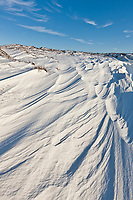 Wind blown snow on the tundra of Barter Island, Arctic National Wildlife Refuge, Arctic, Alaska.