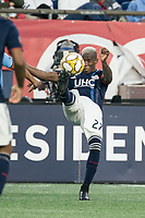 FOXBOROUGH, MA - SEPTEMBER 29: Luis Caicedo #27 of New England Revolution reverse kicks the ball during a game between New York City FC and New England Revolution at Gillettes Stadium on September 29, 2019 in Foxborough, Massachusetts.