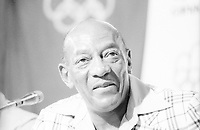 1976 Montreal, Canada; Track and field legend Jesse Owens USA gives a press conference during the 1976 Summer Olympics in Montreal