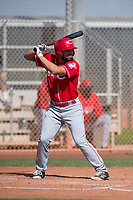 Cincinnati Reds left fielder Mauro Conde (64) during a Minor League Spring Training game against the Los Angeles Angels at the Cincinnati Reds Training Complex on March 15, 2018 in Goodyear, Arizona. (Zachary Lucy/Four Seam Images)
