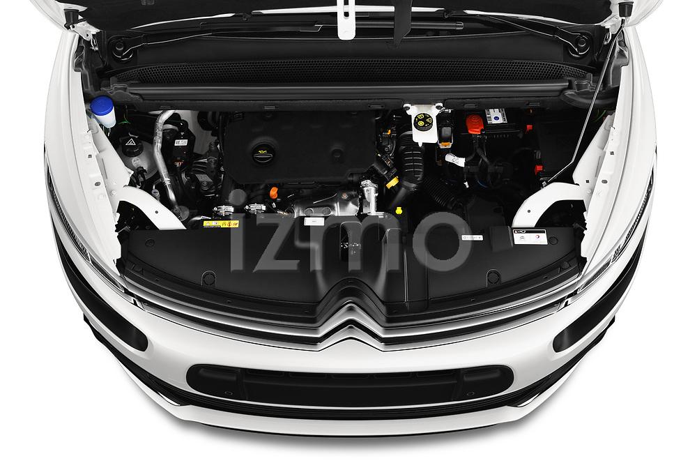 Car stock 2018 Citroen Grand C4 Spacetourer Feel 5 Door MPV engine high angle detail view