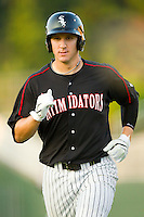 Ian Gac #33 of the Kannapolis Intimidators jogs off the field during a South Atlantic League game against the Lakewood BlueClaws at Fieldcrest Cannon Stadium July 14, 2010, in Kannapolis, North Carolina.  Photo by Brian Westerholt / Four Seam Images