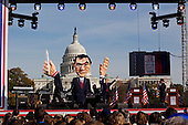 """October 30, 2010<br /> Washington DC<br /> District of Columbia<br /> <br /> Comedians Jon Stewart and Stephen Colbert entertained a huge crowd at the """"Rally to Restore Sanity"""" and """"Keep Fear Alive"""" to poking fun at the nation's ill-tempered politics, fear-mongers and doomsayers.<br /> <br /> Part comedy show, part pep talk, the rally drew together tens of thousands stretched across an expanse of the National Mall, a festive congregation of the goofy and the politically disenchanted."""