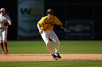 Chad McDaniel (20) of the Missouri Tigers takes his lead off of second base against the Oklahoma Sooners in game four of the 2020 Shriners Hospitals for Children College Classic at Minute Maid Park on February 29, 2020 in Houston, Texas. The Tigers defeated the Sooners 8-7. (Brian Westerholt/Four Seam Images)