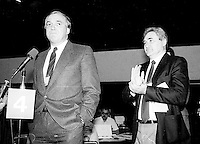 Montreal (Qc) CANADA - 1987 File Photo - - New Democratic Party (NDP) Convention  - - Ed Broadbent , Michael Aganieff (R)