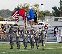 Members of the Greenwood High School Air Force  JROTC present the colors before Friday's football game against Springdale Har-Ber.