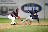 Batavia Muckdogs shortstop Samuel Castro (25) tags Tommy Edman (16) sliding into second during a game against the State College Spikes on June 22, 2016 at Dwyer Stadium in Batavia, New York.  State College defeated Batavia 11-1.  (Mike Janes/Four Seam Images)