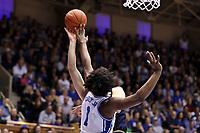 DUKE, NC - FEBRUARY 15: Vernon Carey Jr. #1 of Duke University blocks a shot by John Mooney #33 of the University of Notre Dame during a game between Notre Dame and Duke at Cameron Indoor Stadium on February 15, 2020 in Duke, North Carolina.