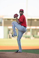 AZL Angels starting pitcher Tulio Santa Maria (48) delivers a pitch during an Arizona League game against the AZL Indians 2 at Tempe Diablo Stadium on June 30, 2018 in Tempe, Arizona. The AZL Indians 2 defeated the AZL Angels by a score of 13-8. (Zachary Lucy/Four Seam Images)