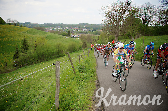 Simon Gerrans (AUS/Orica-GreenEDGE) up the 'steepest climb' in Holland: Keutenberg (max 22%)<br /> <br /> Amstel Gold Race 2014