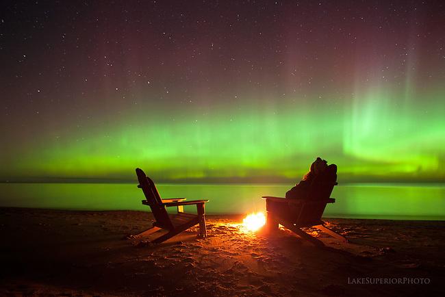 Aurora, Adirondack chairs, Lake Superior, Upper Peninsula, Michigan