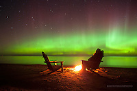 Aurora, Adirondack chairs, Lake Superior, Upper Peninsula, Michigan