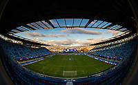 Stanford, CA - December 8, 2019: Field at Avaya Stadium. The Stanford Cardinal won their 3rd National Championship, defeating the UNC Tar Heels 5-4 in PKs after the teams drew at 0-0.