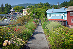 Bright summer bloom on the Bridge of Flowers, an attraction in Shelburne Falls, MA, USA