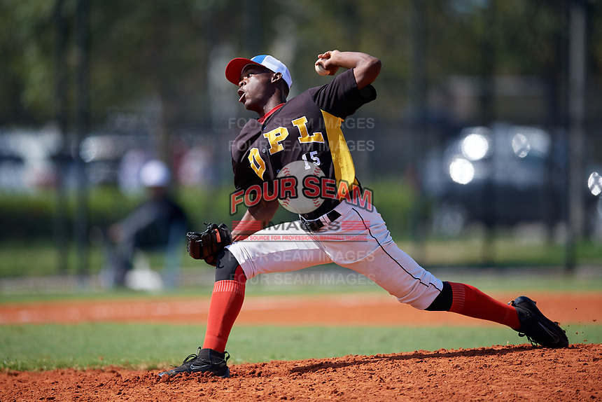 Johan Simon (15) during the Dominican Prospect League Elite Florida Event at Pompano Beach Baseball Park on October 15, 2019 in Pompano beach, Florida.  (Mike Janes/Four Seam Images)