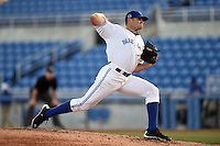 Dunedin Blue Jays pitcher Brad Allen (32) delivers a pitch during a game against the Clearwater Threshers on April 10, 2015 at Florida Auto Exchange Stadium in Dunedin, Florida.  Clearwater defeated Dunedin 2-0.  (Mike Janes/Four Seam Images)