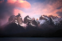 Pink Sunrise at Lake Pehoe. Torres Del Paine National Park, Chile