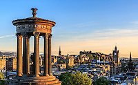 14/6/2015 View of the city from Calton Hill with the Dugald Stewart Monument, the clock tower of the Balmoral Hotel and Edinburgh Castle, Edinburgh, Scotland on 2015/06/14. Foto EXPA/ JFK/Insidefoto
