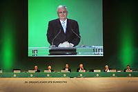 Ansprache von DFB-Präsident Dr. Theo Zwanziger auf die Videowand<br /> 39. Ordentlicher DFB-Bundestag in der Rheingoldhalle<br /> *** Local Caption *** Foto ist honorarpflichtig! zzgl. gesetzl. MwSt. Es gelten ausschließlich unsere unter <br /> <br /> Auf Anfrage in hoeherer Qualitaet/Aufloesung. Belegexemplar an: Marc Schueler, Am Ziegelfalltor 4, 64625 Bensheim, Tel. +49 (0) 6251 86 96 134, www.gameday-mediaservices.de. Email: marc.schueler@gameday-mediaservices.de, Bankverbindung: Volksbank Bergstrasse, Kto.: 151297, BLZ: 50960101