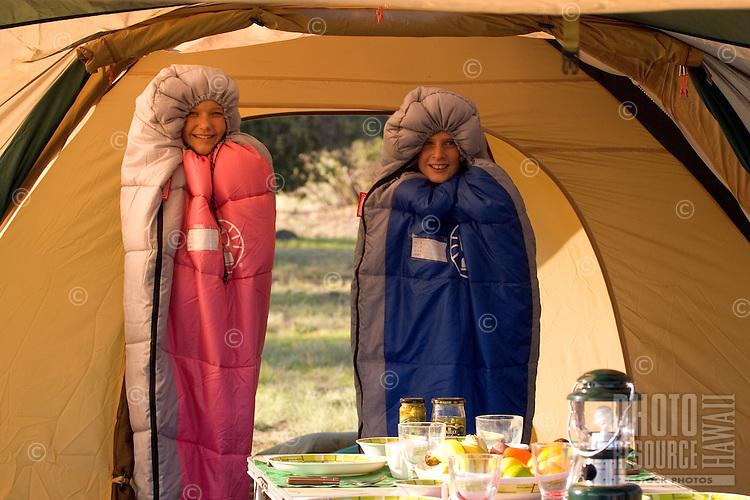 Family camping at Mauna Kea State Recreation Area, Big Island of Hawaii