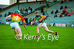 Maurice O'Connor, Kerry in action against Gary Bennett, Carlow during the Joe McDonagh hurling cup fourth round match between Kerry and Carlow at Austin Stack Park on Saturday.