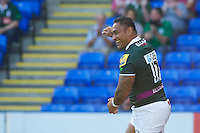 Halani Aulika of London Irish celebrates scoring a try during the Aviva Premiership match between London Irish and Gloucester Rugby at the Madejski Stadium on Saturday 8th September 2012 (Photo by Rob Munro)