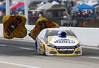 Apr 26, 2015; Baytown, TX, USA; NHRA pro stock driver Allen Johnson during the Spring Nationals at Royal Purple Raceway. Mandatory Credit: Mark J. Rebilas-