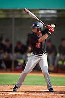 Rutgers Scarlet Knights right fielder Mike Martinez (20) at bat during a game against the Indiana Hoosiers on February 23, 2018 at North Charlotte Regional Park in Port Charlotte, Florida.  Indiana defeated Rutgers 7-6.  (Mike Janes/Four Seam Images)