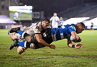 19th February 2021; Recreation Ground, Bath, Somerset, England; English Premiership Rugby, Bath versus Gloucester; Taulupe Faletau of Bath scores a try under pressure from Lewis Ludlow of Gloucester in the final seconds of the first half