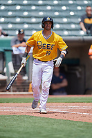 Drew Butera (18) of the Salt Lake Bees at bat against the Las Vegas Aviators at Smith's Ballpark on June 27, 2021 in Salt Lake City, Utah. The Aviators defeated the Bees 5-3. (Stephen Smith/Four Seam Images)