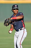 Justin Dean (14) of the Rome Braves, a 2018 Braves draft pick from Lenoir-Rhyne, warms up before Game 2 of a doubleheader against the Greenville Drive on Friday, August 3, 2018, at Fluor Field at the West End in Greenville, South Carolina. Rome won, 6-3 (Tom Priddy/Four Seam Images)