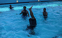 Palestinian amputees, who lost a leg in rounds of violence with Israel, take part in a swimming training session in Gaza City July 30, 2019 <br /> <br /> PHOTO : Agence Quebec Presse - Yousef Masoud