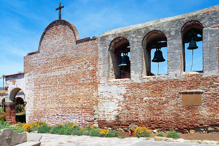 Mission San Juan Capistrano, San Juan Capistrano, California, USA - the Old Church and the Campanario (Bell Wall) - Historic Landmark founded 1776