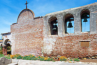 Mission San Juan Capistrano, San Juan Capistrano, California, USA - the Old Church and the Campanario (Bell Wall) - Historic Landmark founded 1776