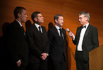 St Johnstone FC Scottish Cup Celebration Dinner at Perth Concert Hall...01.02.15<br /> Gordon Bannermam talks with Scott Brown, Stevie Banks and Frazer Wright<br /> Picture by Graeme Hart.<br /> Copyright Perthshire Picture Agency<br /> Tel: 01738 623350  Mobile: 07990 594431