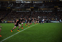 NZ's Beauden Barrett kicks off during the Bledisloe Cup rugby match between the New Zealand All Blacks and Australia Wallabies at Eden Park in Auckland, New Zealand on Saturday, 7 August 2021. Photo: Dave Lintott / lintottphoto.co.nz