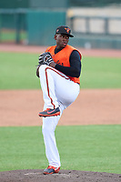 FCL Orioles Orange pitcher Alejandro Mendez (55) during a game against the FCL Pirates Gold on August 9, 2021 at Ed Smith Stadium in Sarasota, Florida.  (Mike Janes/Four Seam Images)