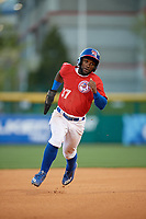Buffalo Bisons center fielder Roemon Fields (37) running the bases during a game against the Syracuse Chiefs on May 18, 2017 at Coca-Cola Field in Buffalo, New York.  Buffalo defeated Syracuse 4-3.  (Mike Janes/Four Seam Images)