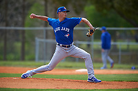 Toronto Blue Jays pitcher Mike Ellenbest (52) during an exhibition game against the Canada Junior National Team on March 8, 2020 at Baseball City in St. Petersburg, Florida.  (Mike Janes/Four Seam Images)