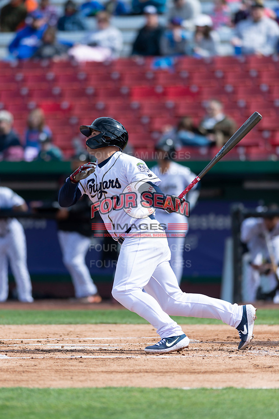 Kane County Cougars third baseman Buddy Kennedy (7) during a Midwest League game against the Cedar Rapids Kernels at Northwestern Medicine Field on April 28, 2019 in Geneva, Illinois. Kane County defeated Cedar Rapids 3-2 in game one of a doubleheader. (Zachary Lucy/Four Seam Images)