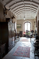 The barrel vaulted hall, added to the property by Thomas Tudor in the1820s, is one of the Gothic revival elements of the house