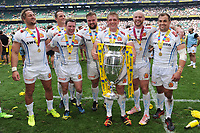 Exeter Chiefs celebrate with the trophy after winning the Premiership Rugby Final at Twickenham Stadium on Saturday 27th May 2017 (Photo by Rob Munro)