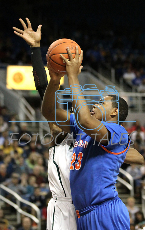 Bishop Gorman's Ronnie Stanley takes a shot during the NIAA 4A State Basketball Championship game between Bishop Gorman and Hug high schools at Lawlor Events Center, in Reno, Nev, on Friday, Feb. 24, 2012. Gorman won 96-51..Photo by Cathleen Allison
