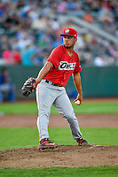 Bo Tucker (17) of the Orem Owlz delivers a pitch to the plate against the Ogden Raptors in Pioneer League action at Lindquist Field on July 29, 2016 in Ogden, Utah. Orem defeated Ogden 8-5. (Stephen Smith/Four Seam Images)
