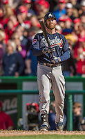 6 April 2014: Atlanta Braves catcher Ryan Doumit pinch hits against the Washington Nationals at Nationals Park in Washington, DC. The Nationals defeated the Braves 2-1 to salvage the last game of their 3-game series. Mandatory Credit: Ed Wolfstein Photo *** RAW (NEF) Image File Available ***